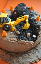 Construction birthday cakes for kids with dirt and machine.PNG
