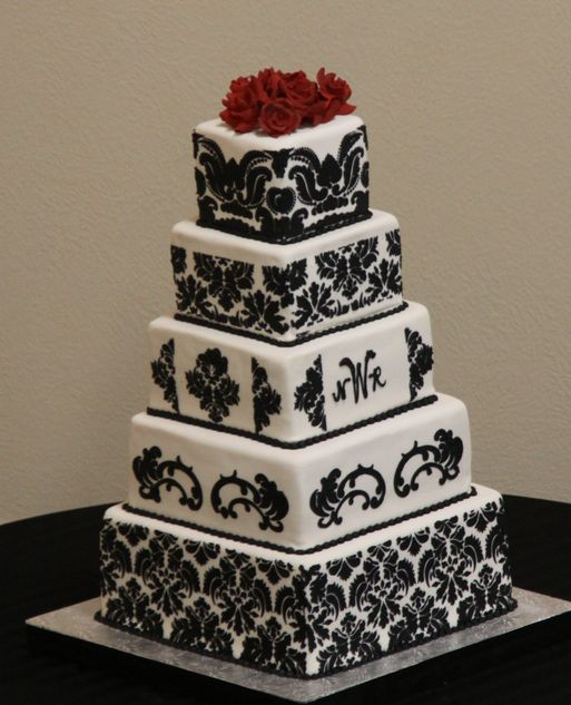 How To Ice Damask On Cake