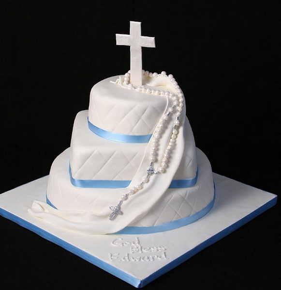 Big baptism cakes with cross topper and three tiers baptism in white and blue lines.PNG