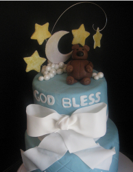 Baptism boy cakes with bear cake topper.PNG