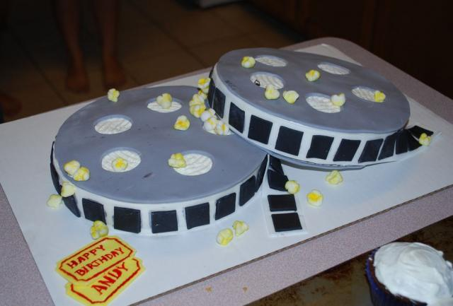 Movie reels and popcorn birthday cake.JPG