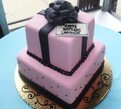 Birthday Cake Gift Images : Pink gift box birthday cake.JPG