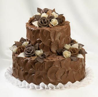 Chocolate wedding cakes picture with chocolate roses