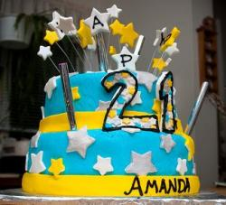Two tier 21st birthday cake with white stars.JPG