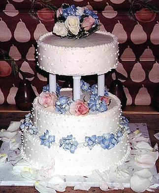 Wedding Cake With Pink And Blue Flowers Fl Topper