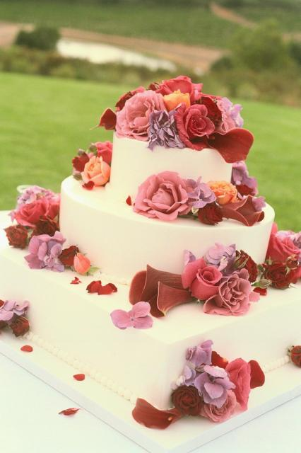 Wedding Cake Designs With Fresh Roses In Many Colors Hi Res 720p HD