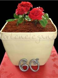 Pot of roses chocolate birthday cake.JPG