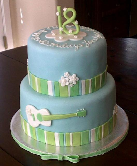 Two Tier 18th Birthday Cake In Power Blue And Guitar Decorg