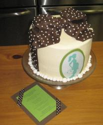 Ivory baby shower cake with brown bowtie.JPG