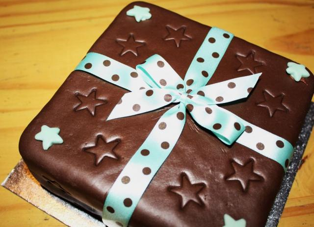 Chocolate gift box cake with blue ribbon.JPG