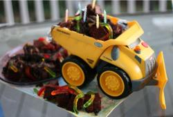 Toy truck with mini chocolate birthday cakes.JPG