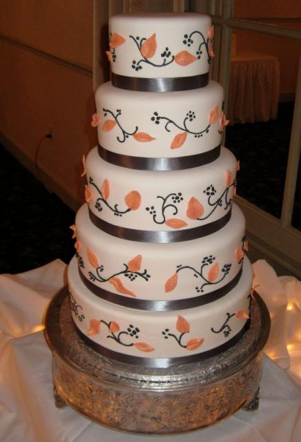 Five Tier Elegant Wedding Cake With Orange Leaves And