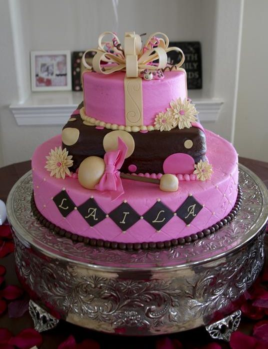 Pink 3 tier cake with bowtie.JPG