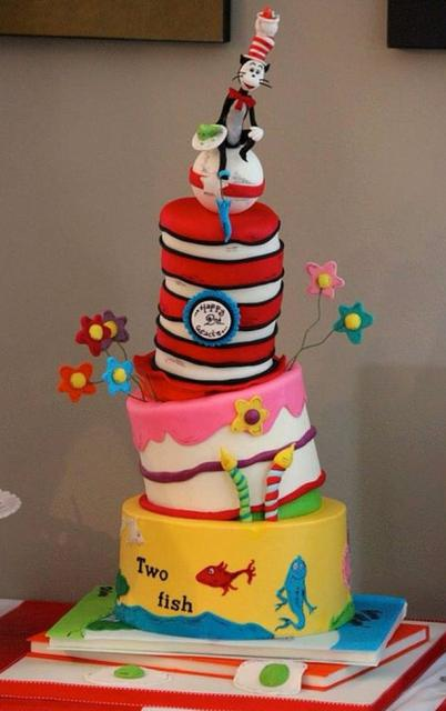 Detailed cool 3 tier Dr Seuss book theme cake with cat on top.JPG