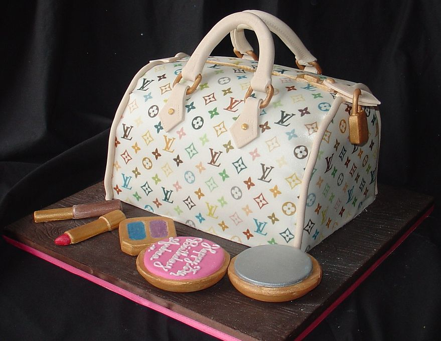 Louis Vuitton Handbag Birthday Cake with lipstick and makeup.JPG