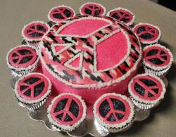 Peace sign pink and black cupcakes.JPG