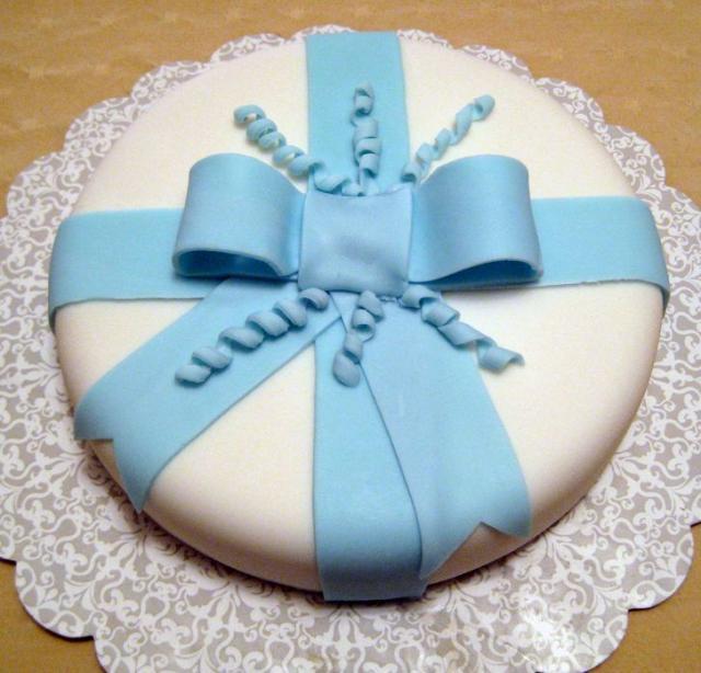 Round White Birthday Cake With Blue Bow Tie Jpg