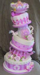 Tea party pink four tier baby shower cake.JPG