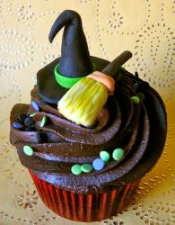 Witch hat and broom Halloween theme cupcake.JPG
