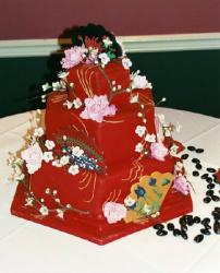 chinese wedding cake in red