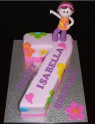 Girl's birthday cake in the shape of the number 7.JPG