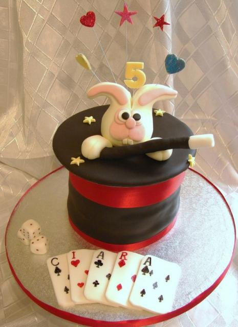 Rabbit In A Hat Magician S Theme Birthday Cake Jpg
