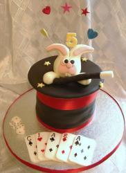 Rabbit in a hat Magician's theme Birthday Cake.JPG