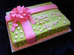 Green gift box birthday cake with pink ribbon.JPG