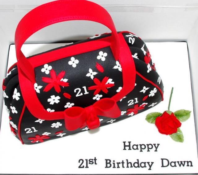 Black and red handbag birthday cake with red rose.JPG