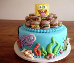 Spongebob Squarepants cake with crabby patties and marine life.JPG