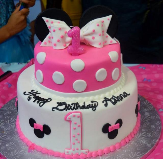 Pink And White 2 Tier Minny Mouse Theme First Birthday Cake For Girl