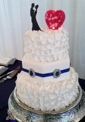 Two Tier Wedding Cake with Flower Ruffles & Silouette Couples Top & Heart Shaped Balloon.JPG