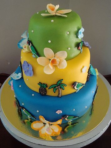 3 Tier Bird And Tropical Theme Cake Jpg