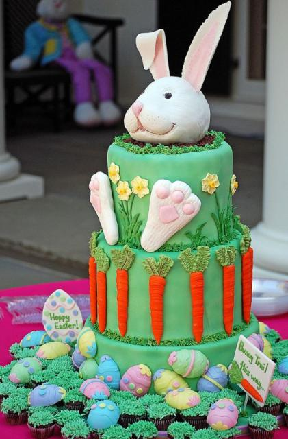 Easter bunny cake with Easter eggs surrounding.JPG