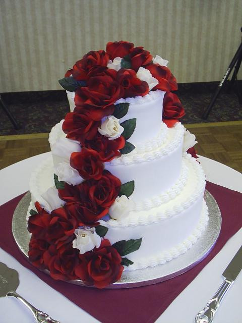 Wedding Cakes With Dark Roses And White Flowers Looking So