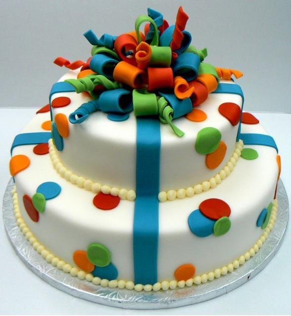Two tier white round party celebration theme cake.JPG Hi ...