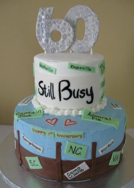 60th Birthday Cake With Travel Theme Jpg