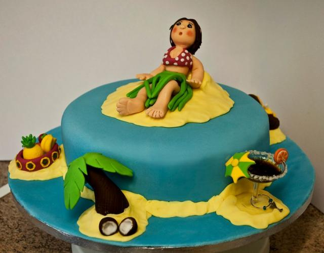 Teal Tropical Island Vacation Theme Cake Jpg Hi Res 720p Hd