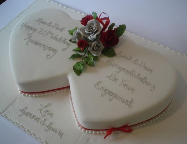 Anniversary Chocolate Cake Design : Dual white hearts anniversary cake.JPG (10 comments) Hi ...