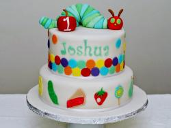 2 Tier First Birthday Cake with Caterpillar & Apple on top.JPG