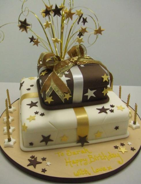 Chocolate And Cream Gift Box Two Tier Birthday Cake