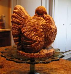 Very good looking Thanksgiving Turkey shaped cake.JPG