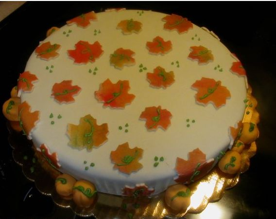 Autumn cake with full of colorful leaves.JPG