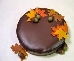 Chocolate thanksgiving cake with fall leaves on the top.JPG