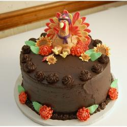 Photo of Chocolate Cake with Fondant Turkey.JPG