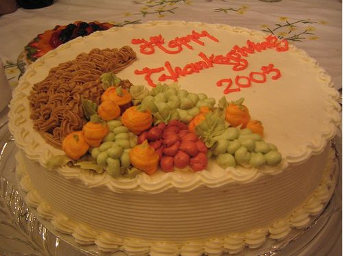 Pictures of Thanksgiving cake with fruits cake decor.JPG