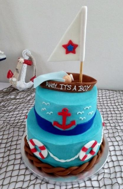 Sailboat nautical theme baby shower cake for boy.JPG