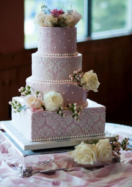 4 Tier Elegant Pink Wedding Cake With White Roses Square Base.JPG
