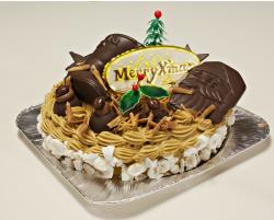 Christmas holiday cake with chocolate santa face and boots.JPG