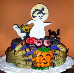 Halloween Cake with Ghosts Frankenstein Hands Eyeballs Pumpkin Witch & More.JPG